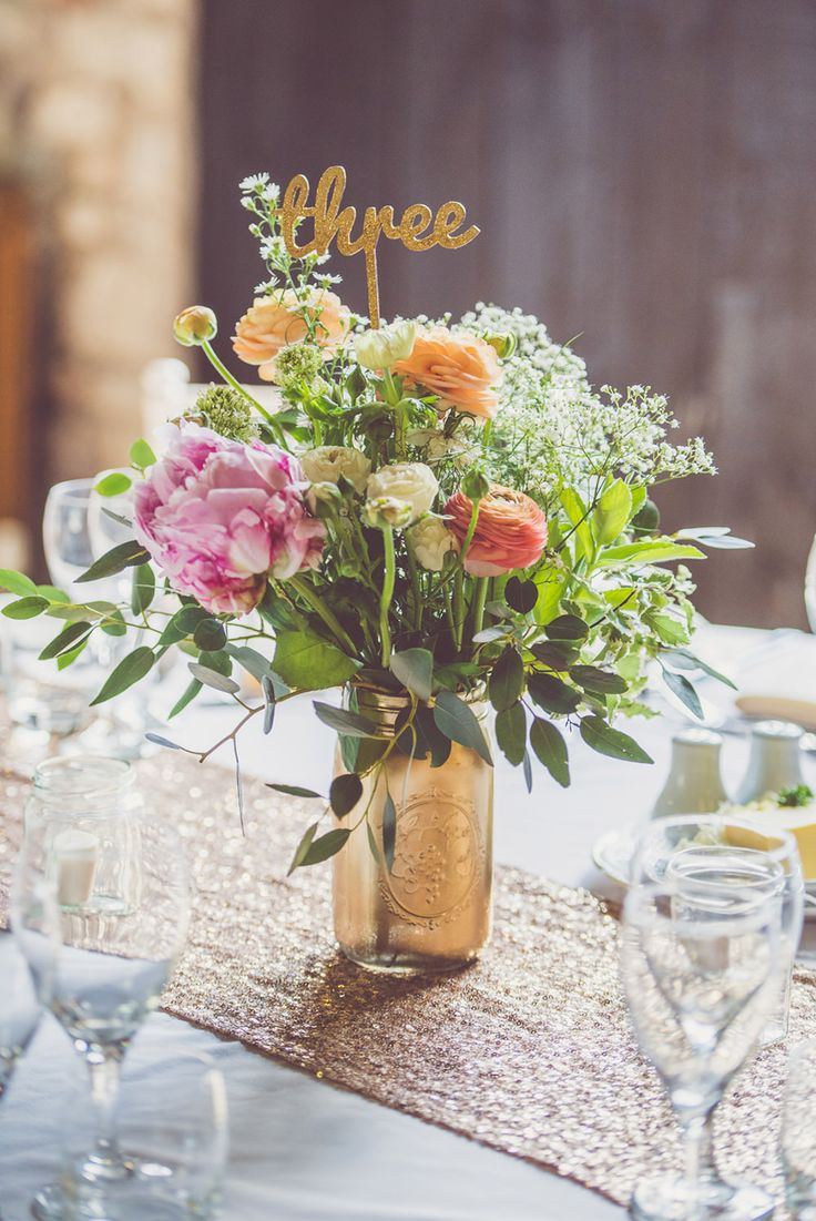 Sequin Table Runner | Spray Painted Jar & Blush Flower Centrepieces | Whimsical Barn Wedding in Wales | Pink & Gold Colour Scheme | Rustic DIY Decor | Images by Nick Murray Photography | http://www.rockmywedding.co.uk/kristy-george/