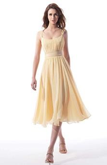 Designer: B2 Fabric: Satin, Chiffon Hemline: Tea-Length Neckline: Scoop