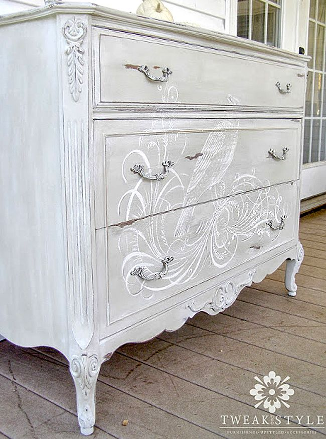 Hand Painted Dresser with an illustration from an 1800's calligraphy book