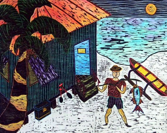 Woodblock Print The Fisherman Hand Pulled Printmaking Colored