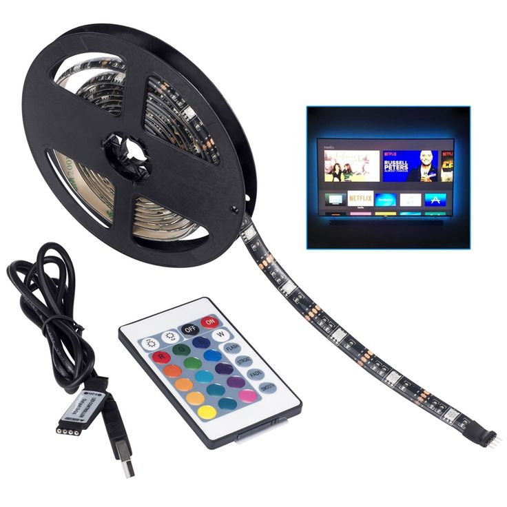 TV Backlighting LED Strip Light : The total length is 6.56ft.Used for light up TV (HDTV)/Desktop monitor.With 5V USB cable connector and 24 kyes remote controller for color changing