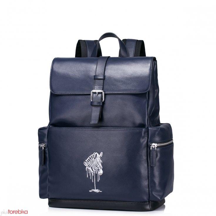 Pojemny męski plecak z naturalnej skóry Niebieski