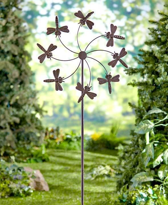 """Dragonfly Garden Wind Spinner Stake over 5"""" Tall Garden Decor Large Metal #Unbranded"""
