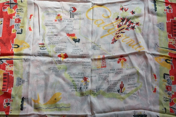 Vintage 1950s CALIFORNIA Souvenir Silk Scarf by TrueValueVintage, $38.00 | Kinda obsessed with souvenir scarves
