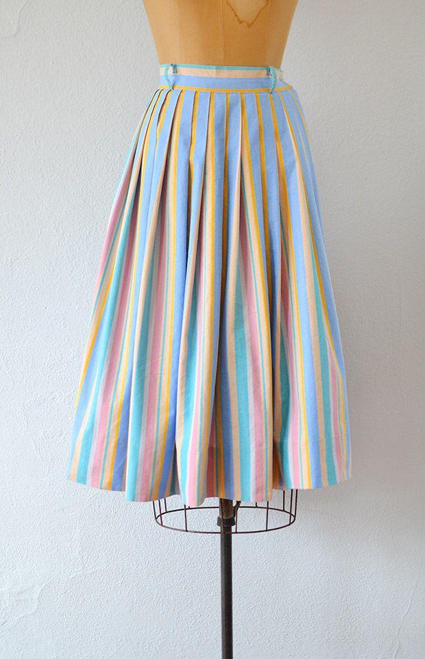 vintage 1950s pastel striped cotton skirt