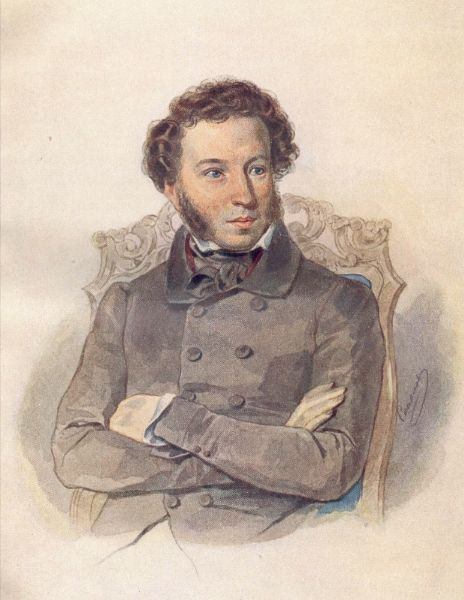 Portrait of A. Pushkin by Pyotr Sokolov (1836); While under the strict surveillance of the Tsar's political police and unable to publish, Pushkin wrote his most famous play, the drama Boris Godunov. His novel in verse, Eugene Onegin, was serialized between 1825 and 1832. Source: http://feb-web.ru/feb/pushkin/texts/push17/vol06/y06front.htmhttp://pravkniga.ru/calendar.html?id=79