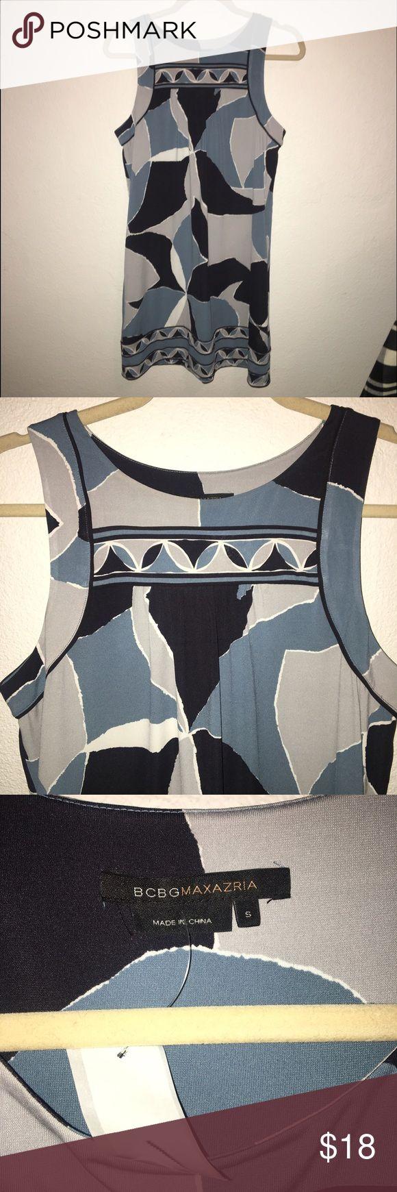 🎀NEW BCBG jersey geometric print shift dress🎀 brand new. bcbgmaxazria. blue/grey geometric print. jersey fabric. BCBGMaxAzria Dresses Mini
