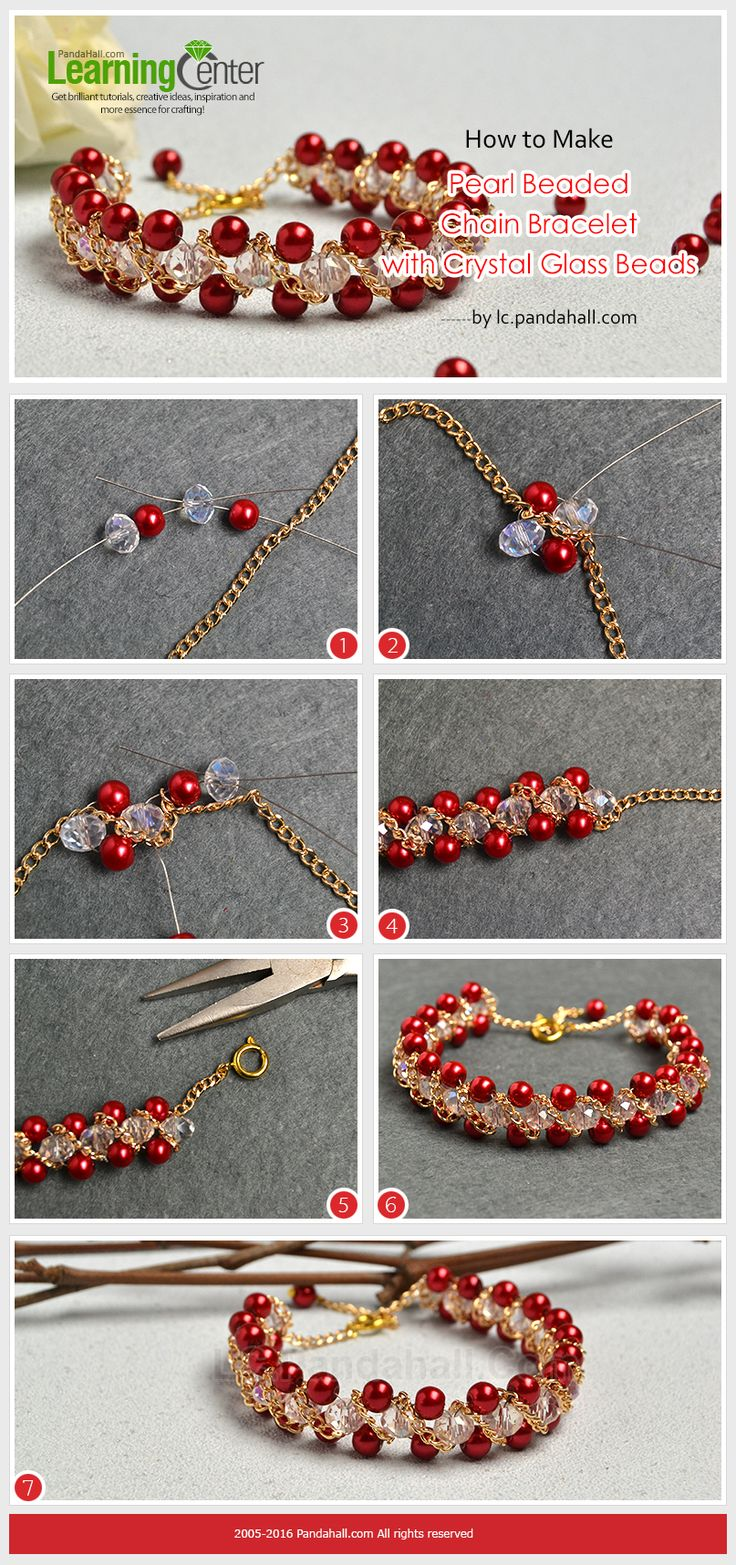 How to Make Pearl Beaded Chain Bracelet with Crystal Glass Beads from LC.Pandahall.com