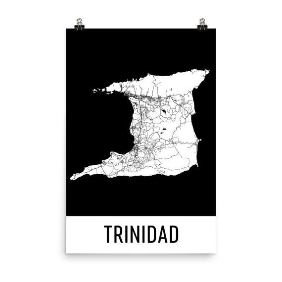Trinidad Map, Trinidad Art, Trinidad Print, Trinidad Poster, Trinidad Wall Art, Map of Trinidad, Trinidad Gift, Trinidad Decor, Map Print