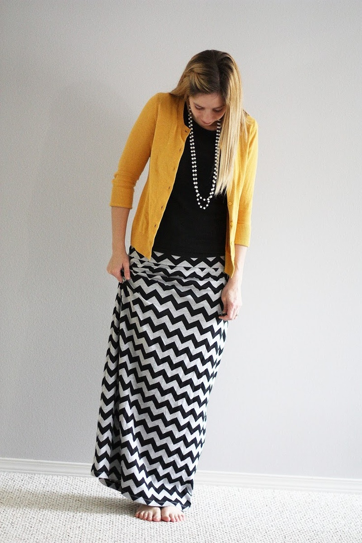 cute chevron maxi skirt.  this would be super cute for work.  love the pop of color in the yellow cardigan.