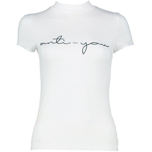 Boohoo Petite Beth 'Anti-You' Slogan Cap Sleeve Tee | Boohoo ($10) ❤ liked on Polyvore featuring tops, t-shirts, petite tops, white tee, boohoo tops, petite white tops and petite t shirts