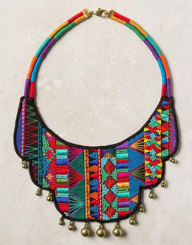 Atafu embroided Necklace - gives me DIY ideas for some of my Gran's embroidered pieces.