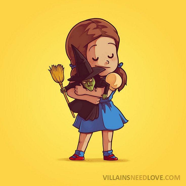 """Ilustrações divertidas mostram que os vilões também precisam de amor - Confira o projeto Villains Need Love, do ilustrador Naolito, que mostra a """"reconciliação"""" de heróis e vilões por meio de um abraço (forçado) e muito amor."""