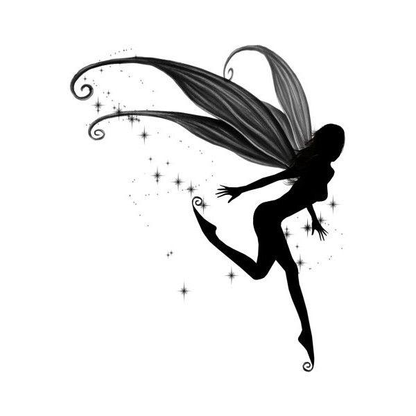 Catch a Falling Star Tattoo - $12.00 : Fairy Silhouette Art by Julie Fain, Fairy Art, Fantasy, Mermaid, Dragon, Faery, Unicorn Art Prints for Sale, dark gothic fairy art found on Polyvore