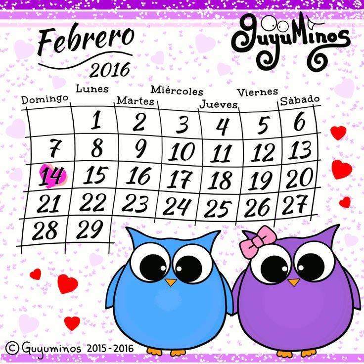 Calendario Febrero 2016 ©Guyuminos Disfruta de cada Día de Febrero! http://guyuminos.blogspot.mx/2016/01/calendario-febrero-2016-guyuminos.html #calendario #mes #febrero #buhos #guyuminos