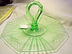 Green Depression Glass Snack Platter