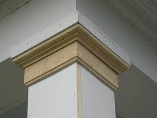 » Replacing A Wood Porch Post The column capital or top molding is comprised of three piece of material: a 2×2 square block, 1/2″ x 6 window stop and a bed molding. All of the unpainted wood was back primed and miters glued.