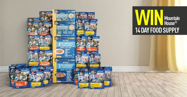14-Day Supply of Freeze-Dried Mountain House Food Giveaway  ENTER HERE TO WIN 14 DAY SUPPLY OF EMERGENCY FOOD