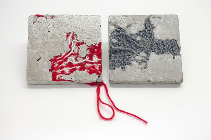 Bethany Walker | Mixed Media Artist, concrete and red wool : http://www.bethanywalker.com/