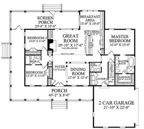 Plan #137-371 - Houseplans.com.  The master needs to meet the Breakfast area wall to extend the room... Then it will be great