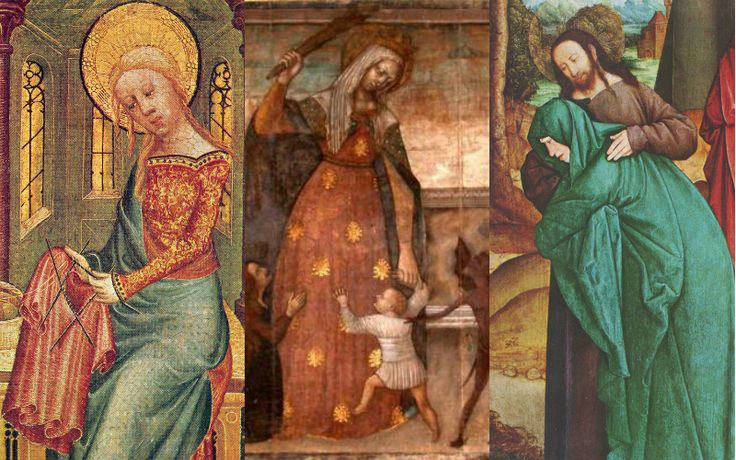 https://churchpop.com/2015/05/19/6-lesser-known-depictions-mary/ You've seen the Pietà, but have you seen Mary clubbing a demon?