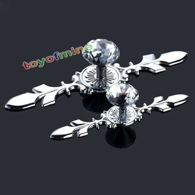 Dresser Knobs Drawer Furniture Pull Handle Cabinet Door Glass Diamond Crystal