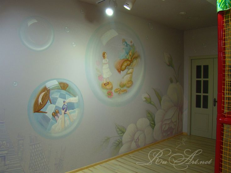 Children's room at the cafe.Painting the walls.