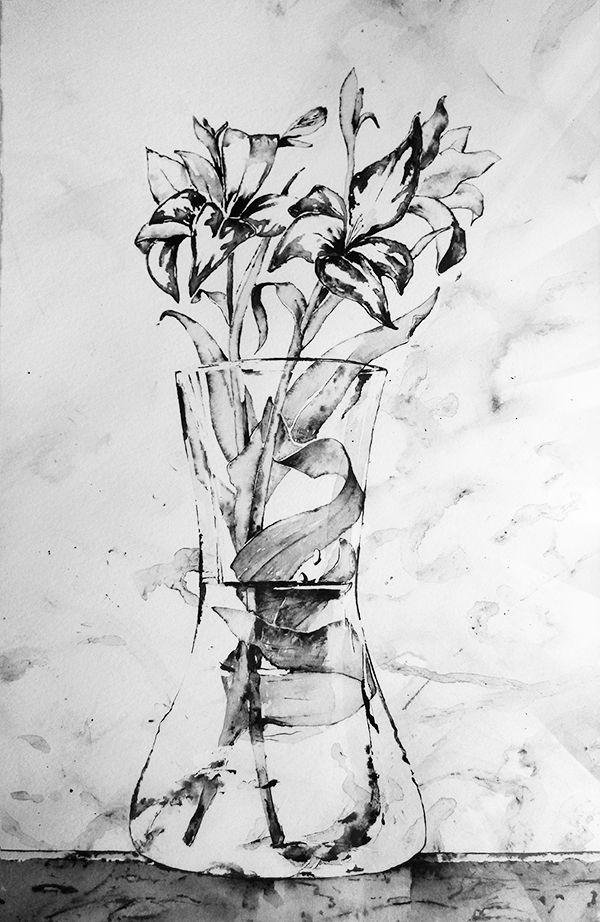 """""""Jarrón con flores"""". Tinta sobre papel (década de los 90) • """"Vase with flowers"""""""