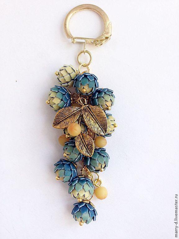 """Купить Украшение на сумочку """"Клеопатра"""" - золотой, синий, переход цвета, золотые цветы, брелок"""