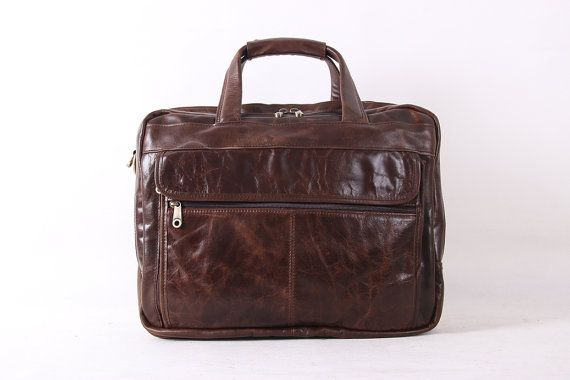 15'' Genuine Cow Leather Briefcase / by MooshiLeatherDesign