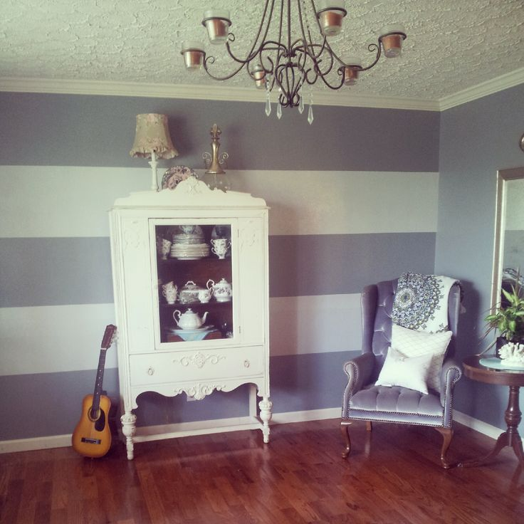 Striped accent wall gray blue paint wide stripes for for Painting stripes on walls in kids room