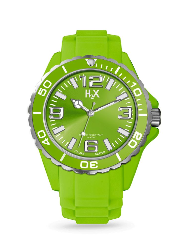 OROLOGIO H2X REEF UNISEX  Sempre verde prato, sempre brillante (come tutti gli altri colori H2X) adatto al polso di ragazze e ragazzi. Orologio da polso da unisex con movimento al quarzo analogico e cassa in silicone 50mt water proof.