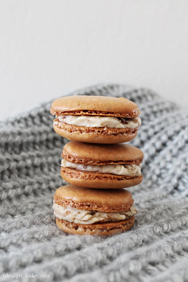 brown sugar macarons with a browned butter, burnt brown sugar american buttercream filling