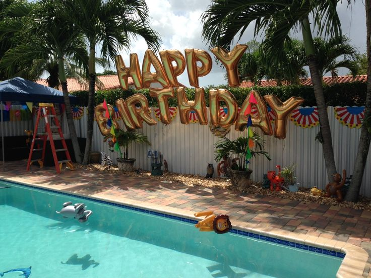 Swimming pool party balloon decoration, mylar balloon letters HAPPY BIRTHDAY http://www.dreamarkevents.com/circus.html