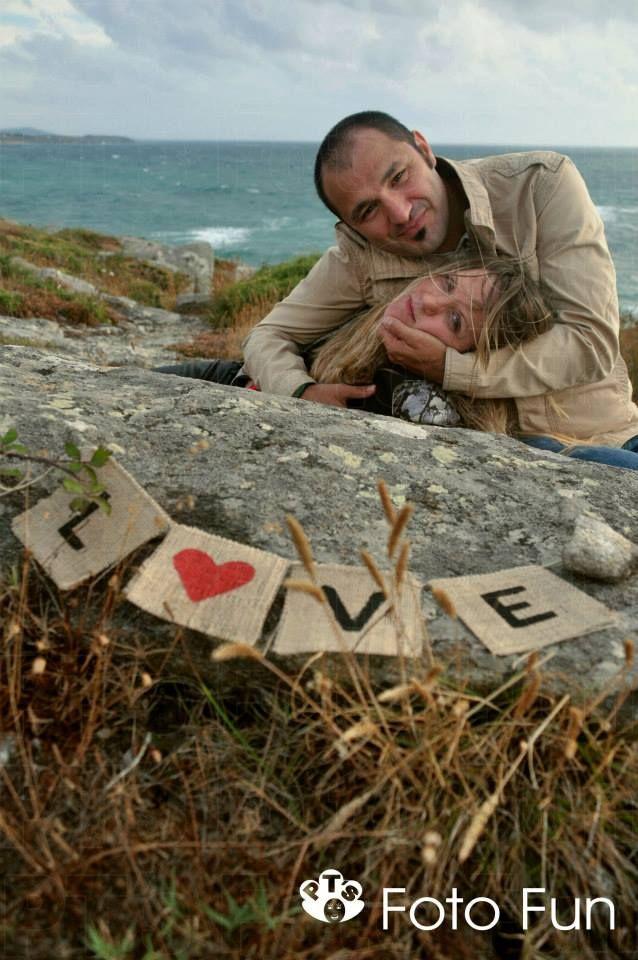 Romantic couple in Castro de Baroña, Coruña, Spain