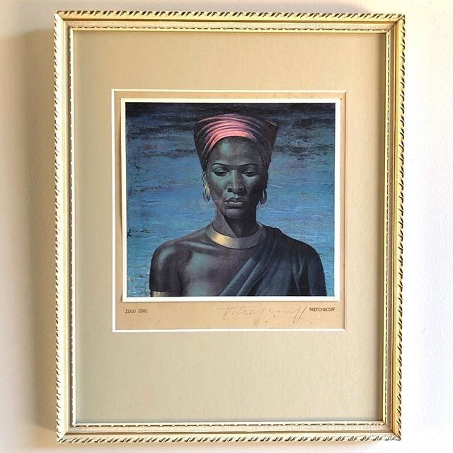 - Zulu Girl - $295  Mid Century signed Tretchikoff print in its original wooden frame behind glass (the matt board has been professionally replaced- and is an exact match with Woman of the Ndebele). A beautiful Portrait print by the iconic and highly sought after mid century artist Vladimir Tretchikoff.  21.5cm wide 33.5cm high. There is some reflection in this pic from the glass   To BUY this piece HIT THE LINK IN THE BIO  #Portraits   #art #artandinteriors #artlovers #artonline #artshop…