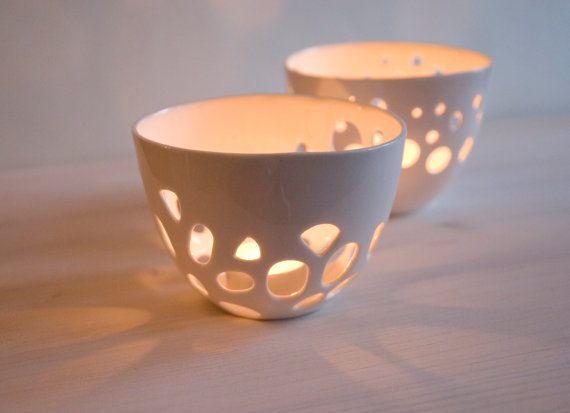Porcelain candle holder - tea light candle holder, decoration. on Etsy, $45.00
