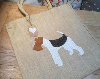 Luxury jute shopping bag featuring a Wire Fox Terrier dog design, the perfect gift for Fox Terrier owners and dog lovers alike