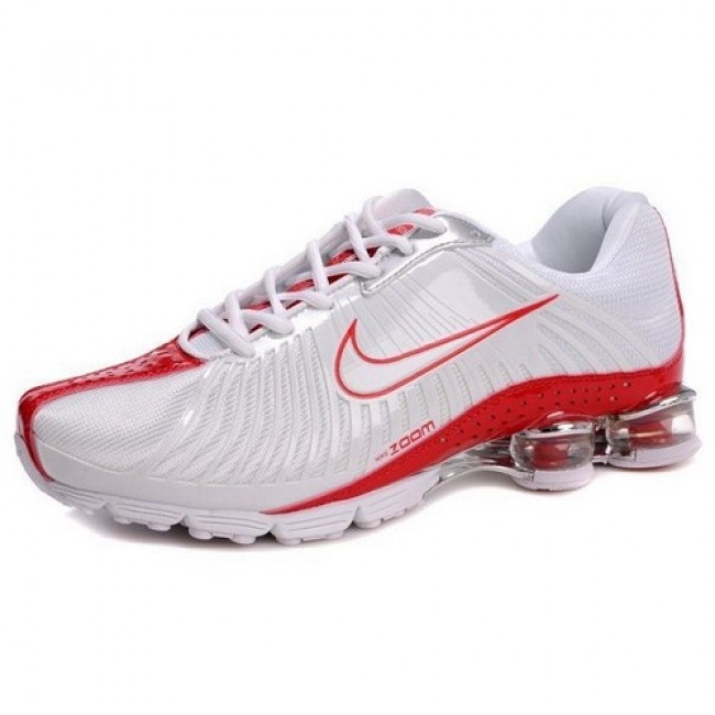 Wonderful Nike Zoom Shox R4 White/Varsity Red Men Shoes 1013 For $51.80 Go To