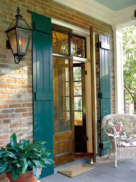 Love the New Orleans inspired exterior shutters that run the full length of the doors. & 145 best Front Door Shutter images on Pinterest | Door entry ...