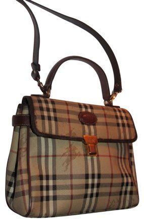d102e8b8ca2c Burberry Early Two-way Style Expandable Sides Excellent Vintage Perfect For  Everyday Satchel in British tan leather Haymarket Nova Check with knights  plaid ...