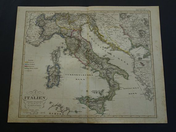 1858 ITALY old map of Italy  beautiful large by VintageOldMaps