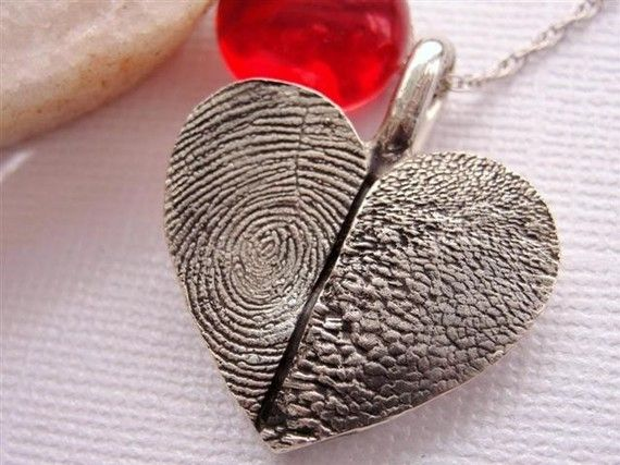 Fingerprint and PawPrint Heart Necklace.