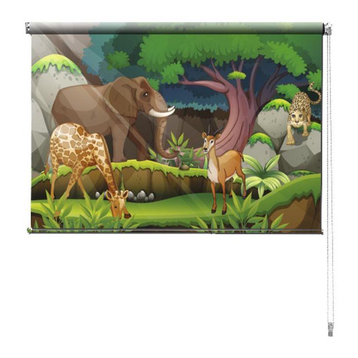 Rolgordijn Jungledieren | De rolgordijnen van YouPri zijn iets heel bijzonders! Maak keuze uit een verduisterend of een lichtdoorlatend rolgordijn. Inclusief ophangmechanisme voor wand of plafond! #rolgordijn #gordijn #lichtdoorlatend #verduisterend #goedkoop #voordelig #polyester #cartoon #kinderkamer #kind #jungle #olifant #dieren #hert #luipaard