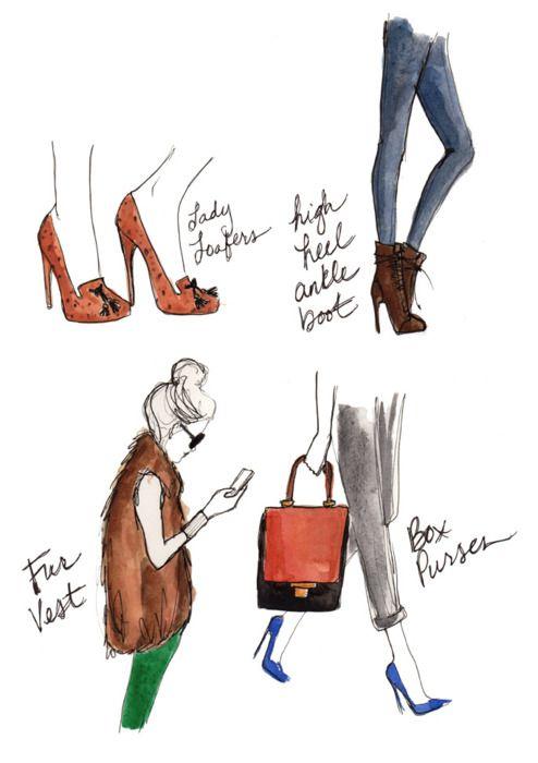 Lady Loafers. High Heel Ankle Boot. Fur Vest. Box Purses. #porteropintowin