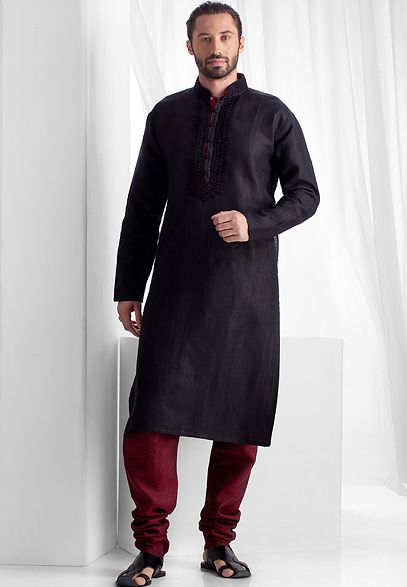 Linen kurta churidar embellished with resham embroidery
