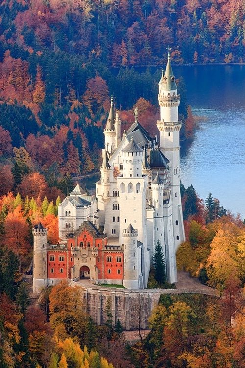 "Dream Destination of the Day : Neuschwanstein Castle in Bavaria, Germany. Is the height of fairy tale castles. In fact, it was build for Ludwig II of Bavaria in 1869 by a theatrical set designer, rather than an architect. The name means ""New Swan Stone,"" after a Wagner opera. It was also the inspiration for Disney's Sleeping Beauty Castle."