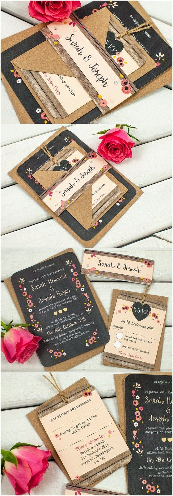 Berry Floral Chalkboard wedding invitation bundle