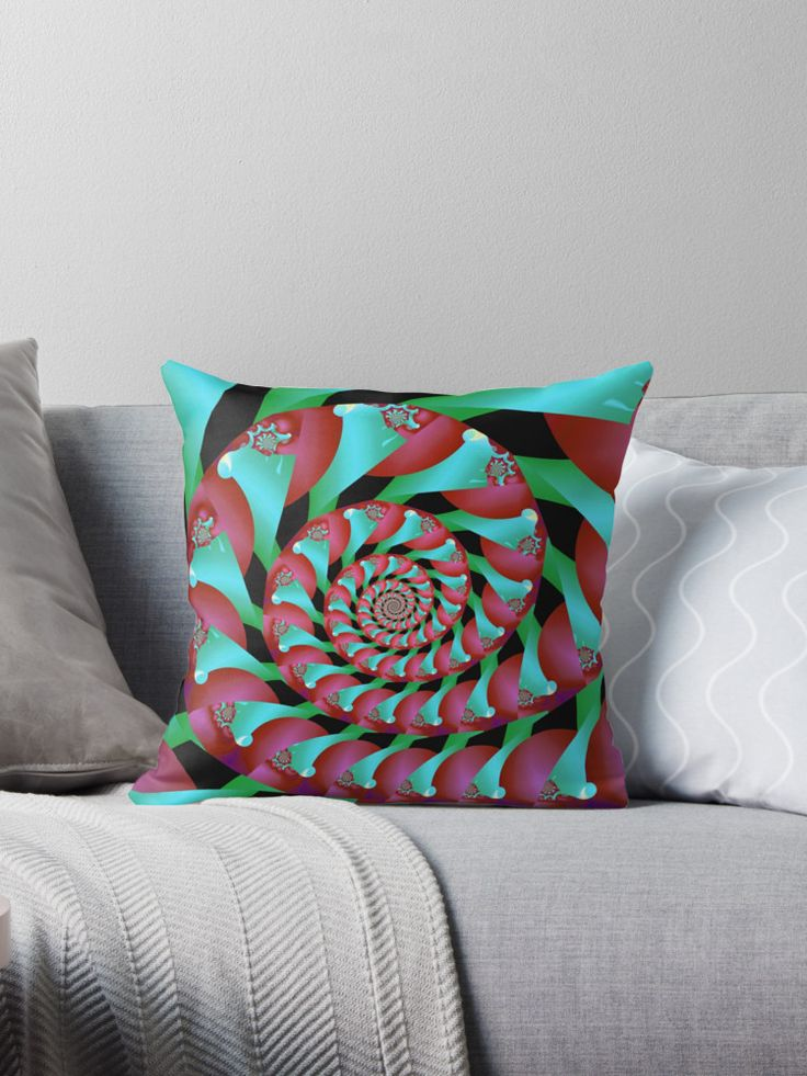 Archimedes' Magenta & Teal Tangent Throw Pillows by Terrella.  A pattern of spirals reminiscent of Archimedes' Screw, almost intertwining spirals, of magenta and teal with accents of cyan, pink and green. • Also buy this artwork on home decor, apparel, phone cases, and more.