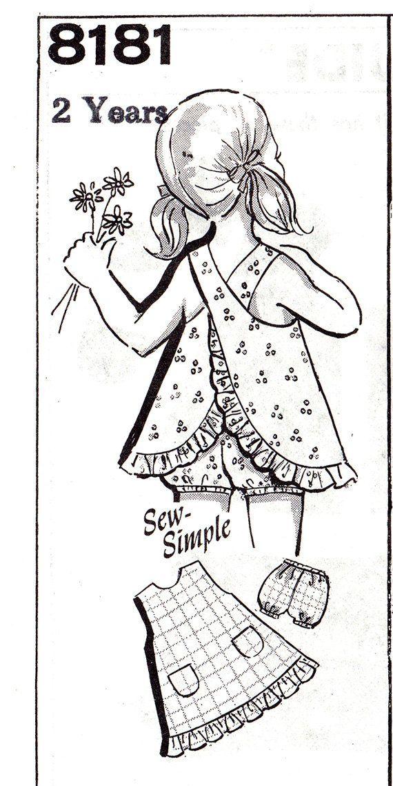 """RARE utilisé Vintage taille 2 enfant en bas âge chasuble & culotte motif - MO 8181 - enfant bébé robe d'été, poitrine 20"""" de couture complet"""